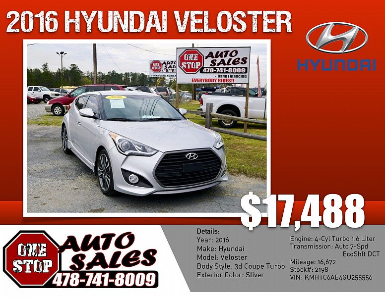 2016 Hyundai Veloster 3d Coupe Turbo Auto at One Stop Auto Sales near Macon, GA